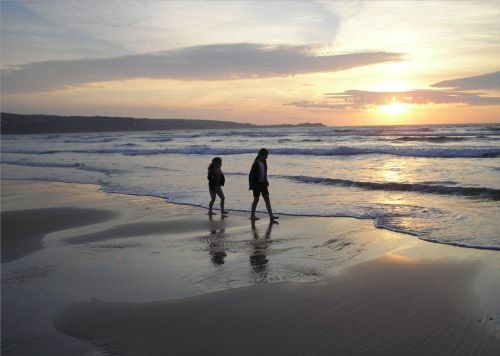 Sunset on Hayle Beach, Cornwall.