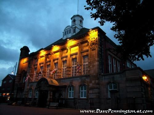 Night shot of Leigh Town Hall, Greater Manchester