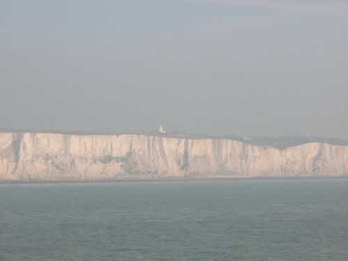 Misty View of the white cliffs of Dover with