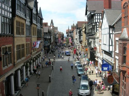 Watergate Street from the walls - Chester