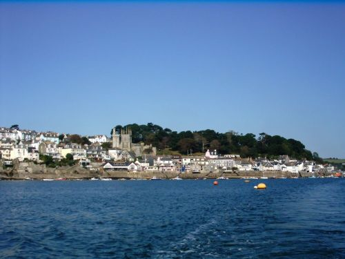 View at Fowey from seaside. Fowey, Cornwall