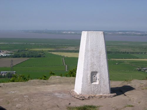 Summit of Helsby hill looking over River Mersey towards Liverpool.