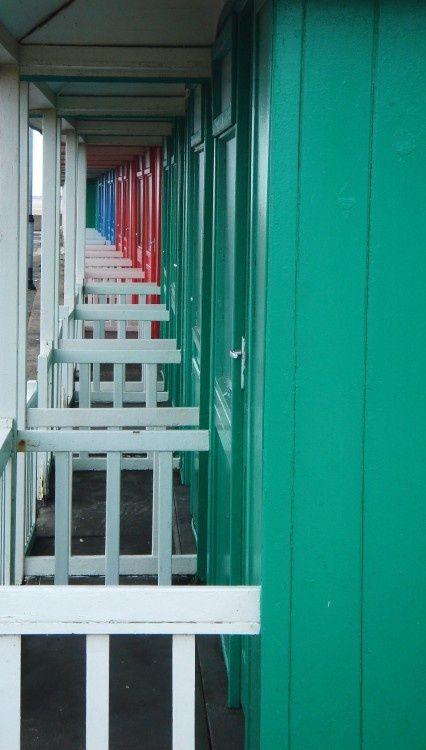 Beach chalets on the seafront at Sutton-on-Sea, Lincolnshire