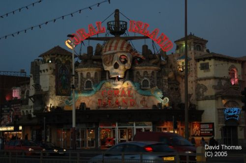 Picture of Coral Island at Blackpool at night.