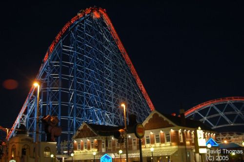 Picture of Blackpool Funfair & Big One Roller Coaster at Night in Nov 05.
