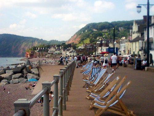 Deckchairs on the seafront at Sidmouth, taken on 15 July 2005.