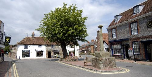 The centre of Alfriston village in East Sussex, with the Market Cross