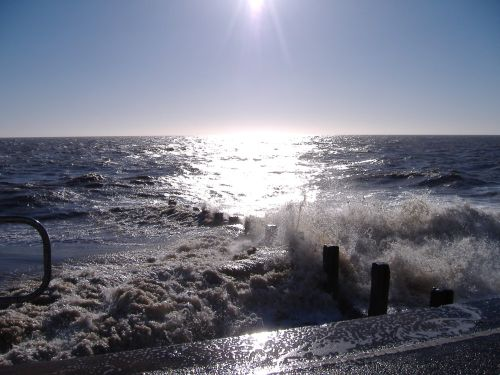 High tide at Clacton on Sea, Essex