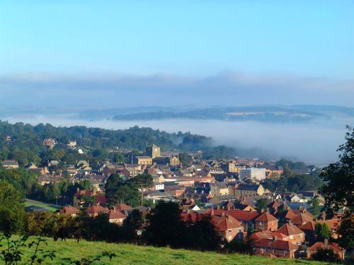 A view of Hexham in Northumberland. Fog over the River Tyne.