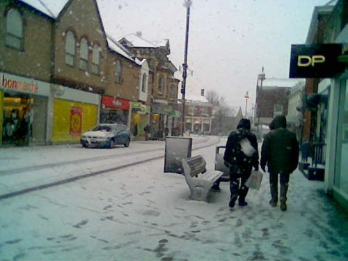 Haverhill High Street when the snow came in January 2006