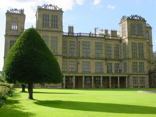The rear facade of Hardwick Hall in Nottinghamshire, the home of Bess of Hardwick
