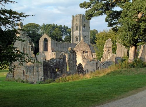 Fountains Abbey, Yorkshire, ruins and tower from southwest