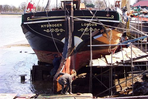 Restoring a Thames sailing barge at Maldon, Essex