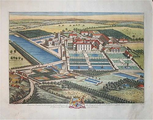 This is a coloured in image, of an engraving, done by KIP, c1700. Staunton Harold Hall estate.