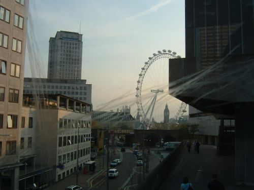 London Eye viewed from a bus.