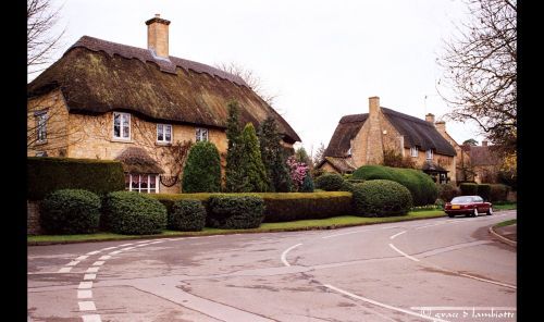 Thatched homes in the village of Chipping Campden, Gloucestershire
