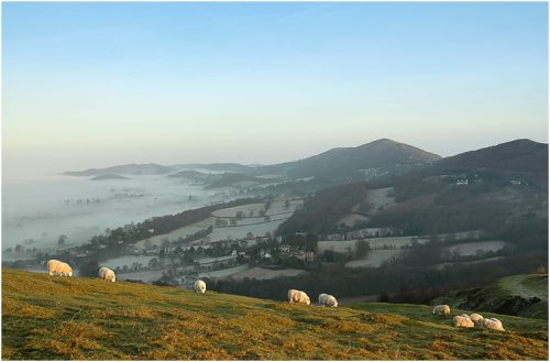 Sunrise from British Camp across the Malvern Hills