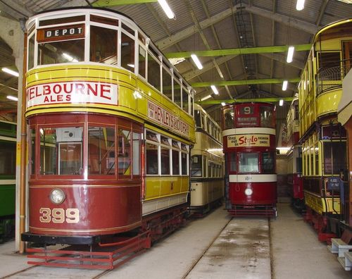 Inside the tram shed at Crich Tramway Village, Derbyshire