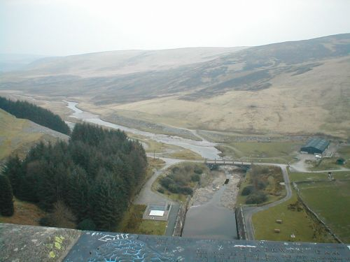 View from top of Rhayader Dam, Powys