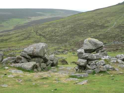 Gateway at Grimspound Bronze-Age village on Dartmoor