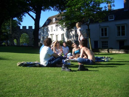 Picnic on the lawn at Minster Yard, Lincoln.