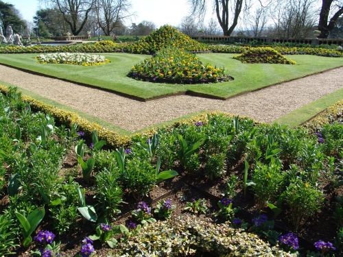 Early Spring bedding at Waddesdon Manor, near Aylesbury, Buckinghamshire