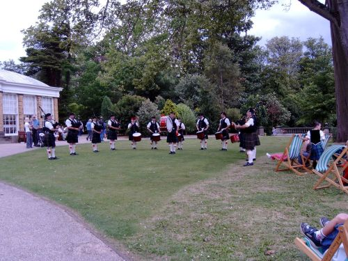 City of Bradford Pipe Band and Dancers at Sewerby Hall, North Yorkshire. July 9th 2006