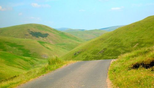 Driving in the Cheviot Hills, Upper Coquetdale, Northumberland.
