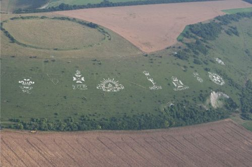 Fovant Badges, Wiltshire.  - Taken from the air in July 2006