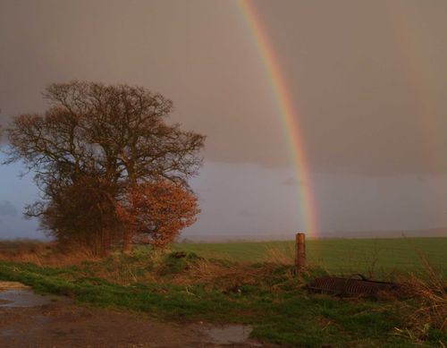 Rainbow near Uffington, Vale of White Horse. April 2006.