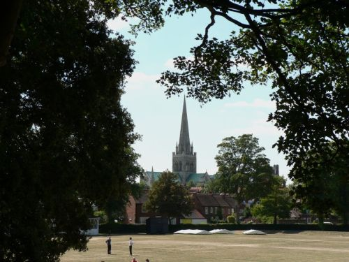 Chichester Cathedral from  the city walls in Priory Park
