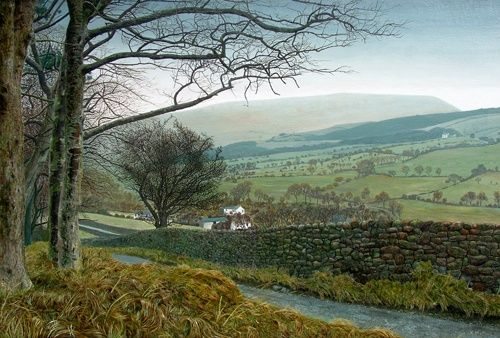 Looking from the brow of Pasture Lane over Roughlee towards The brooding Pendle Hill, Lancashire