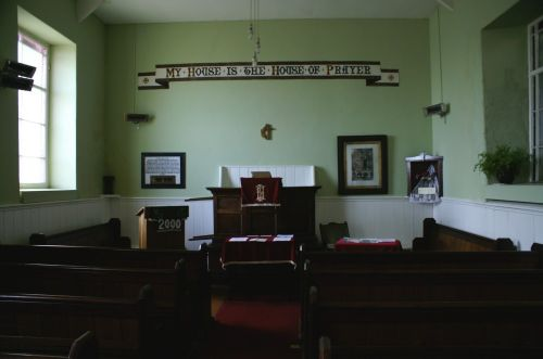 This is the inside of the Methodist chuch in Clovelly, Devon. July 2006.