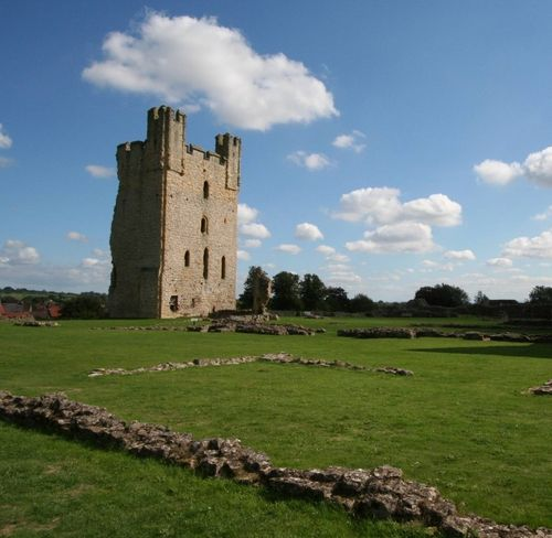 The ruined Gatehouse as seen from the Castle yard. Helmsley Castle, North Yorkshire