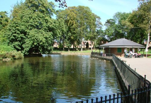 The lake in Arnot Hill Park, Arnold, Nottinghamshire