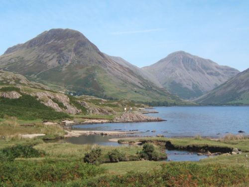 Wastwater, looking to Yewbarrow and Great Gable at the valley head.