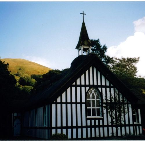 The front of the little thatched church at Little Stretton, Shropshire
