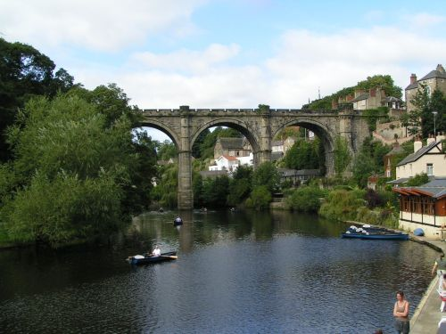 A view of the viaducts which dwarf the river at Knaresborough