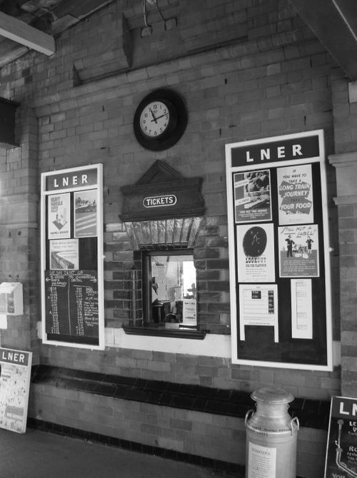 Ticket office at the WW2 themed Quorn Station on the Great Central Railway, Leicestershire.