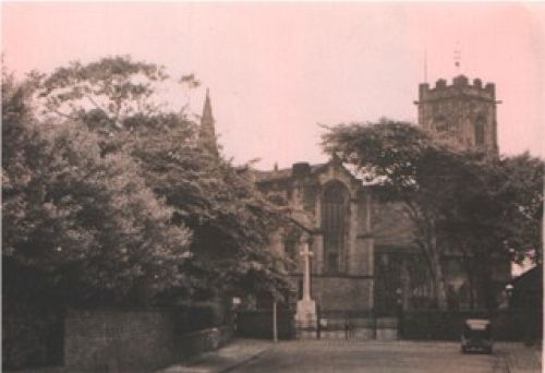 Prestwich; St. mary's church from church lane; about 1958