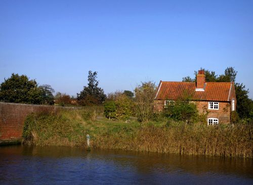 Cottage on River Alde at Snape, Suffolk.
