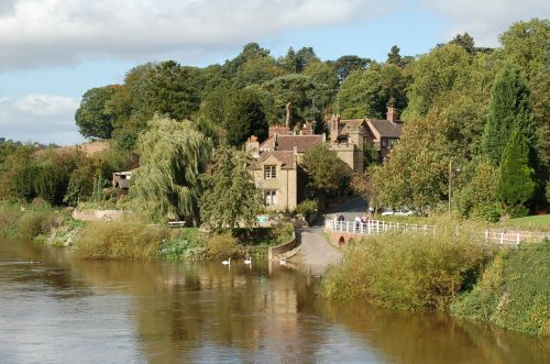 View of Upper Arley Village from the footbridge across the River Severn. Worcestershire