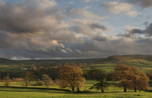 Autumnal view of Westerdale from the western side of the valley. North Yorkshire