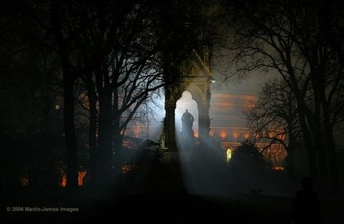 London Royal Albert Hall Albert Memorial Hyde Park in the fog Dec 20th