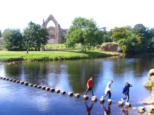 Bolton Abbey, Wharfedale, Yorkshire Dales National Park. Stepping stones across the River Wharfe.