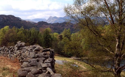 A view of Langdale Pikes, Little Langdale, Cumbria from Tarn Hows.