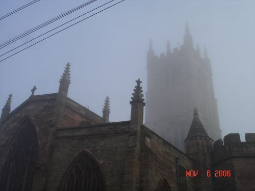 St. Laurence's Church in Ludlow, Shropshire on - a foggy day