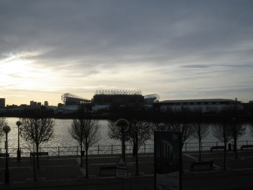 Manchester United Football Ground From Salford Quays, Salford, Greater Manchester.