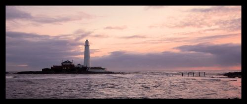 St Marys lighthouse at daybreak and high tide, Whitley Bay, Tyne & Wear.