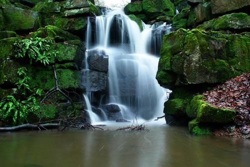 A section of the waterfall, taken in the grounds of Smithill's Hall, Bolton, Greater Manchester.